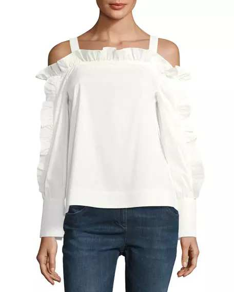 Marled by Reunited Cold-Shoulder Ruffled Blouse | Hermosaz