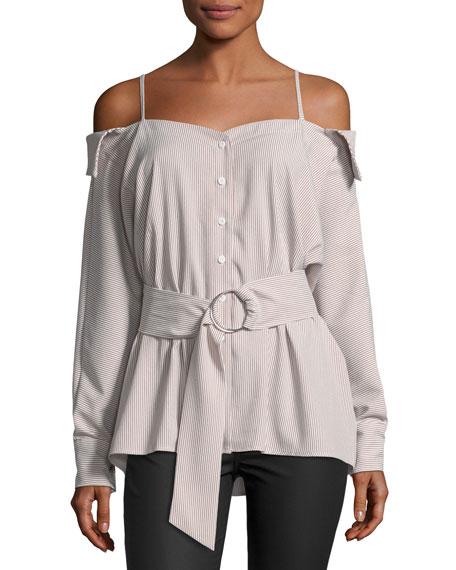 Few Moda Pinstripe Cold-Shoulder Belted Blouse | Hermosaz