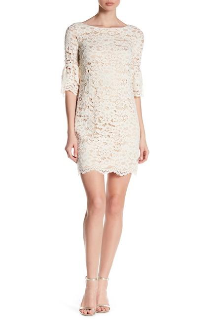Sheer Floral Lace Mini Dress | Hermosaz