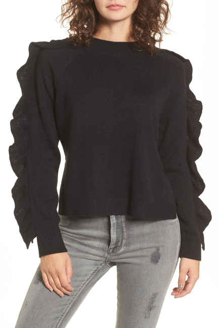 BP. Imitation Pearl & Ruffle Trim Sweater | Hermosaz