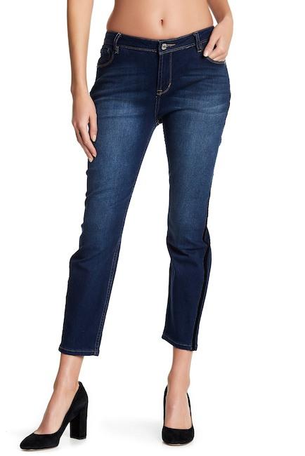 Kenzie Jeans Velvet Panel Trim Skinny Crop Jeans | Hermosaz