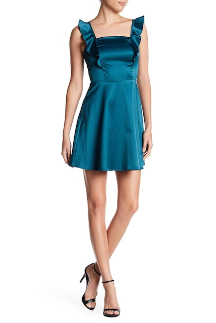 Vanity Room Satin Ruffle Party Dress | Hermosaz