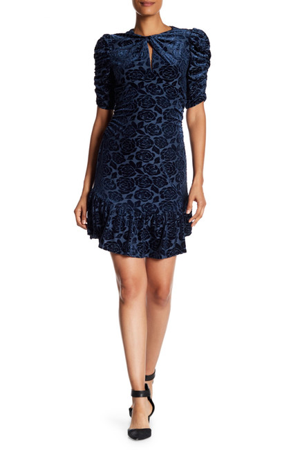 Donna Morgan Puff Sleeve Burnout Velvet Dress | Hermosaz