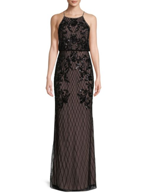 Adrianna Papell Embellished Halterneck Floor-Length Dress | Hermosaz