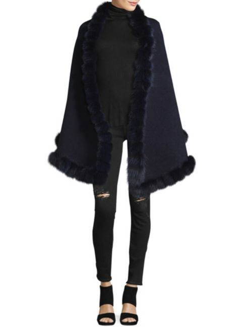 La Fiorentina Fox Fur Pom Oversized Wrap | Hermosaz