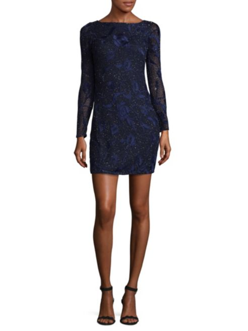 Aiden Mattox Embroidered Floral Mini Sheath Dress | Hermosaz