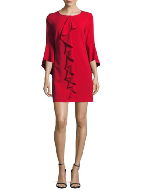 Laundry by Shelli Segal Solid Bell Sleeve Ruffle Dress | Hermosaz