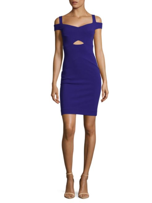 Nicole Miller Artelier Solid V-Neck Dress | Hermosaz