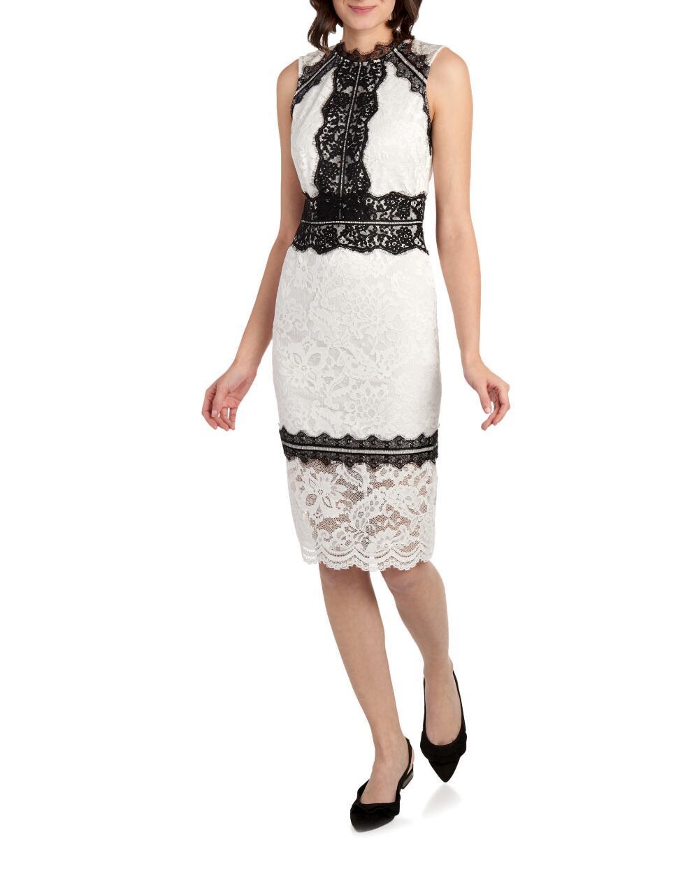 Bebe Contrasting Lace Sleeveless Sheath Dress | Hermosaz