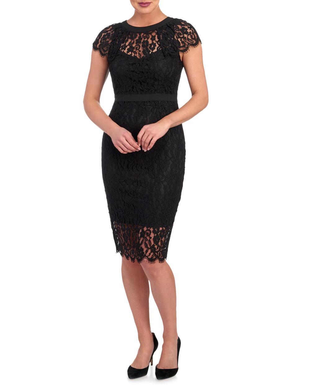 Bebe Illusion Lace Midi Sheath Dress | Hermosaz