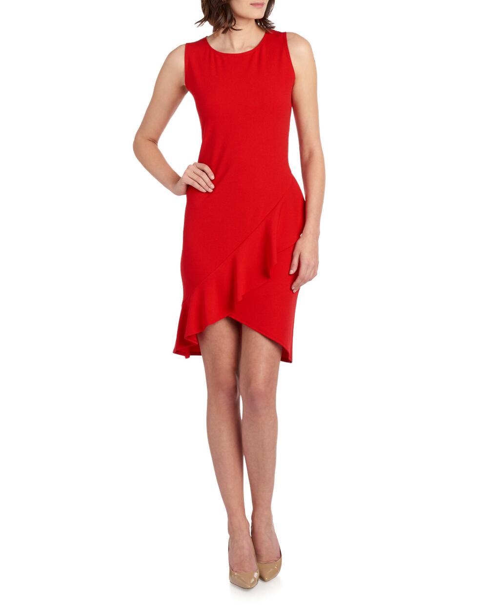 Bebe Ruffled Asymmetrical Sheath Dress | Hermosaz