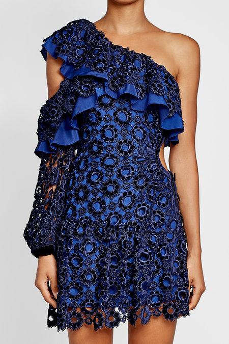 Self- Portrait Asymmetric Floral Lace Mini Dress | Hermosaz