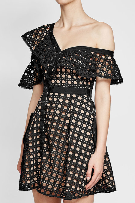 Self- Portrait One Shoulder Guipure Lace Dress | Hermosaz
