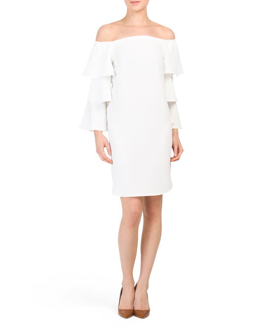 NANETTE NANETTE LEPORE Off The Shoulder Tiered Sleeve Shift Dress | Hermosaz