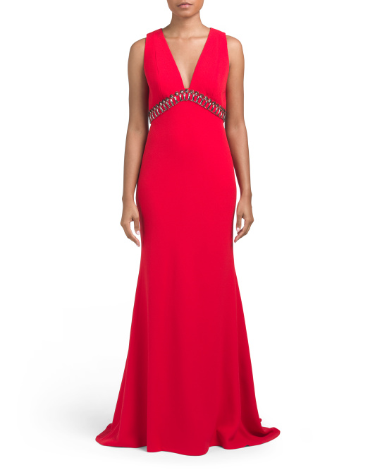 CARMEN MARC VALVO V-neck Pebble Crepe Gown | Hermosaz