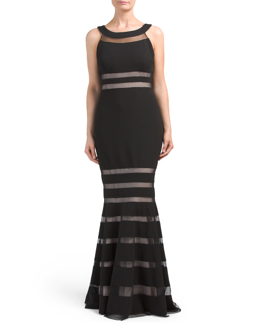 JS COLLECTIONS Sleeveless Sheer Stripe Detail Gown | Hermosaz