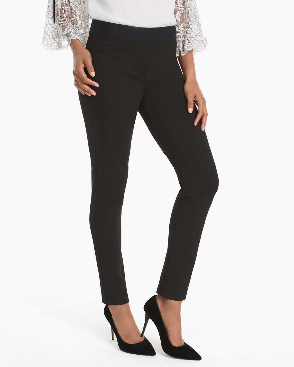 BODY COMFORT SIDE-ZIP SKINNY ANKLE PANTS | Hermosaz