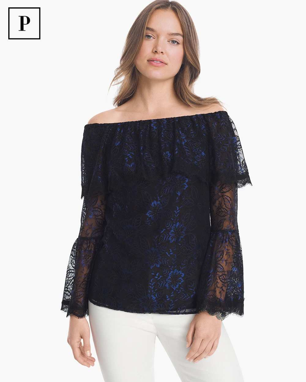 PETITE OFF-THE-SHOULDER LACE TOP | Hermosaz
