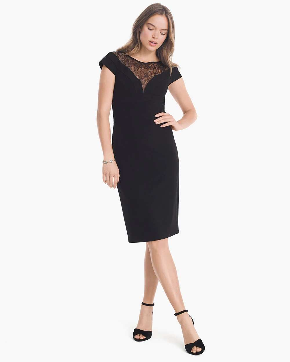 CAP-SLEEVE BLACK VEILING SHIFT DRESS | Hermosaz