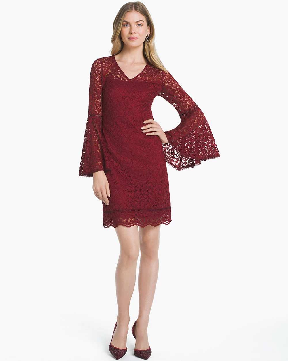 BELL-SLEEVE LACE SHIFT DRESS | Hermosaz