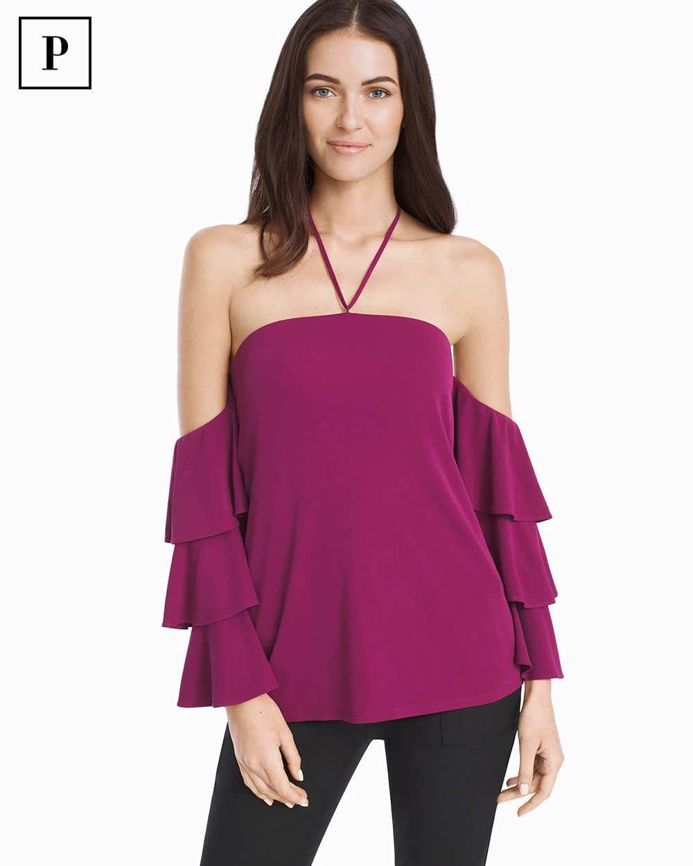 PETITE OFF-THE-SHOULDER 3/4-SLEEVE TIERED TOP | Hermosaz