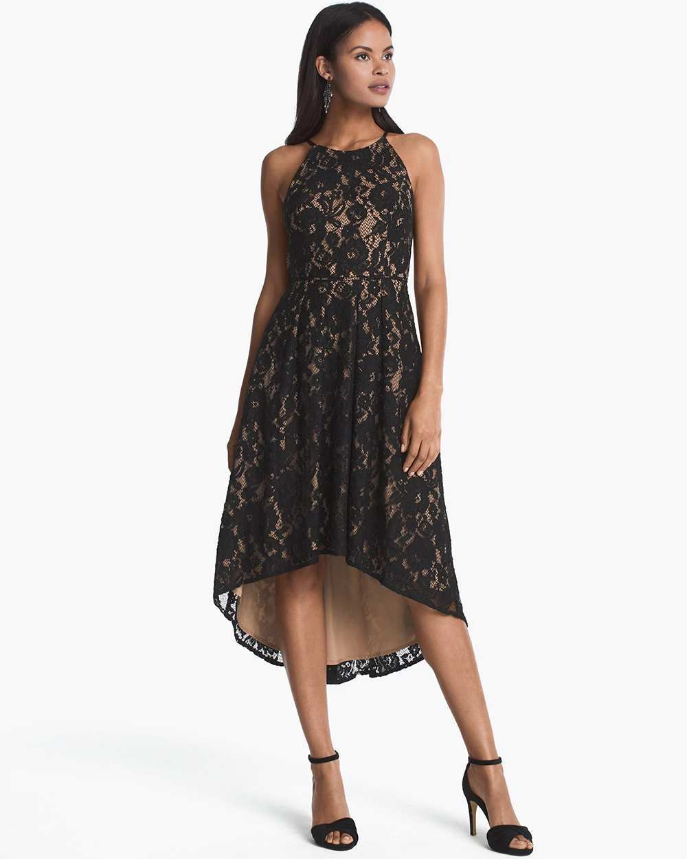 SLEEVELESS LACE HIGH-LOW DRESS   Hermosaz