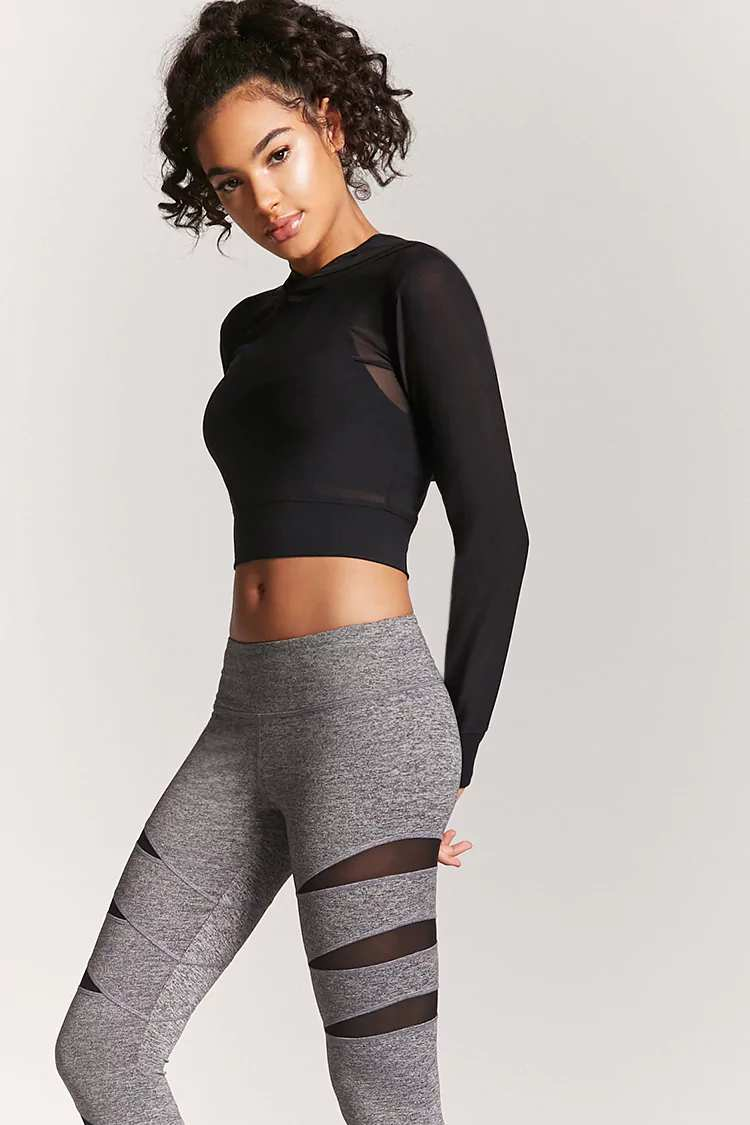 Active Marled Mesh Capri Leggings
