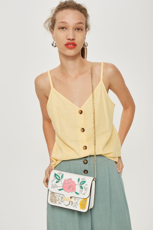 Lily Flower Bead Crossbody Bag