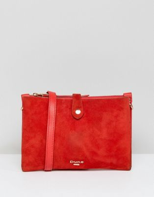 Dune Cross Body Bag in Bright Red Suede