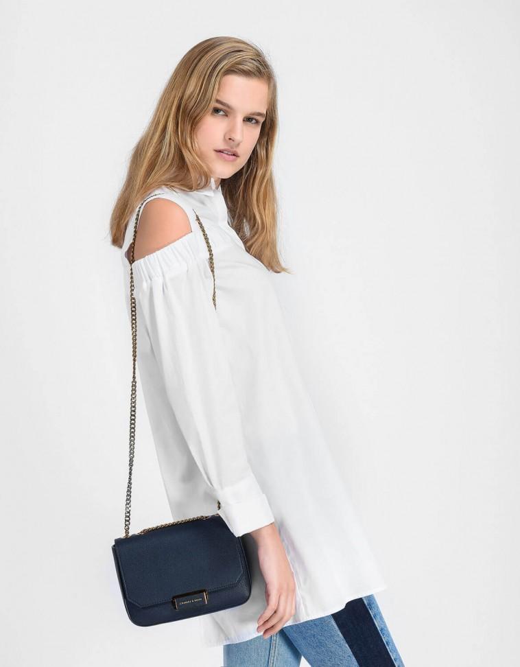 Front Flap Push-Lock Crossbody Bag