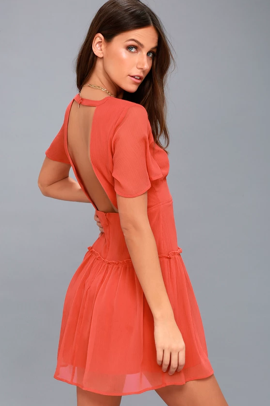 MIDNIGHT LOVE CORAL RED BACKLESS DRESS