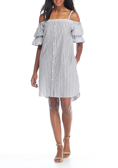 Off-the-Shoulder Cotton Stripe Dress