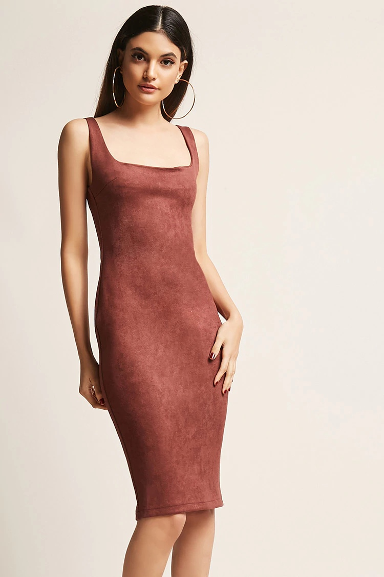 Faux Suede Bodycon Dress