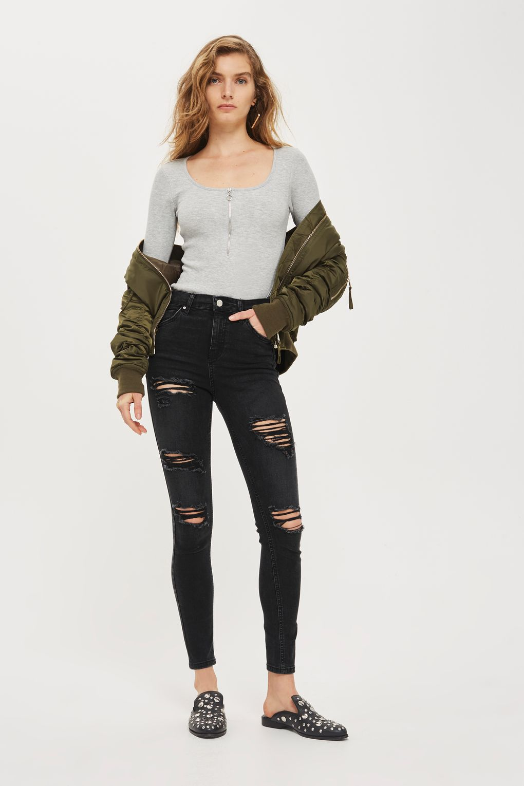 MOTO Washed Black Super Ripped Jamie Jeans