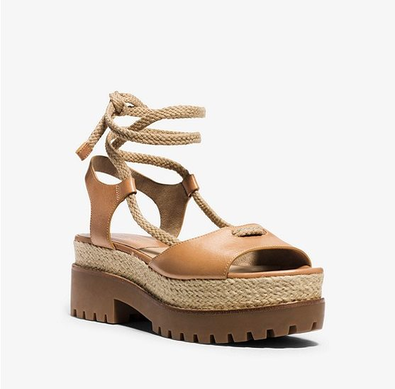 Kirstie Runway Leather and Jute Sandal