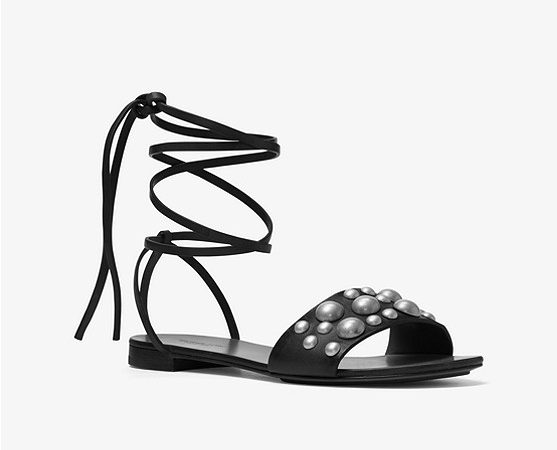 Mica Studded Leather Lace-Up Sandal