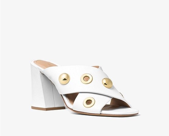 Brianna Grommeted Leather Mule