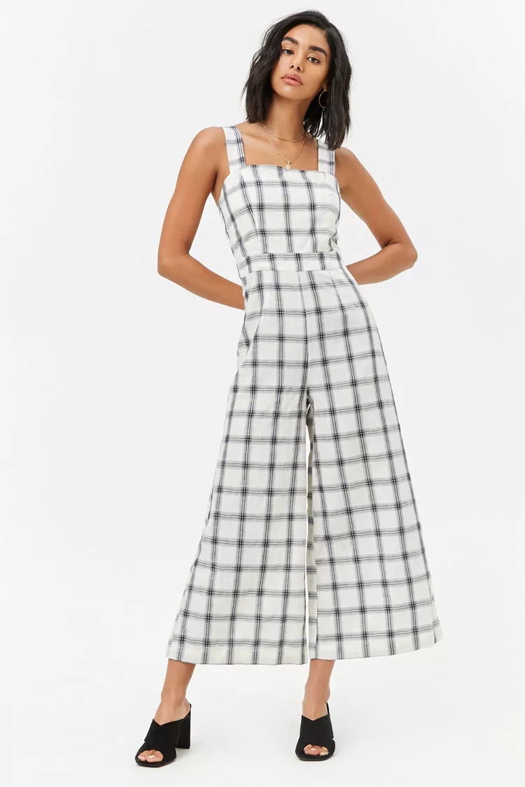 Wide-Leg Plaid Jumpsuit