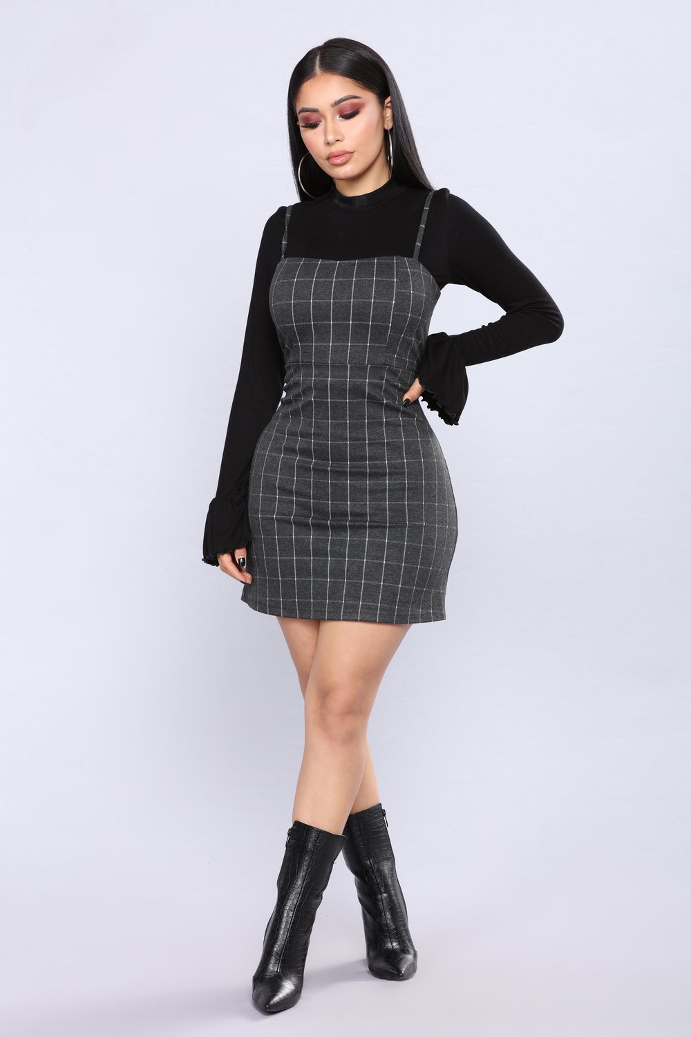 Oxford Plaid Dress – Charcoal