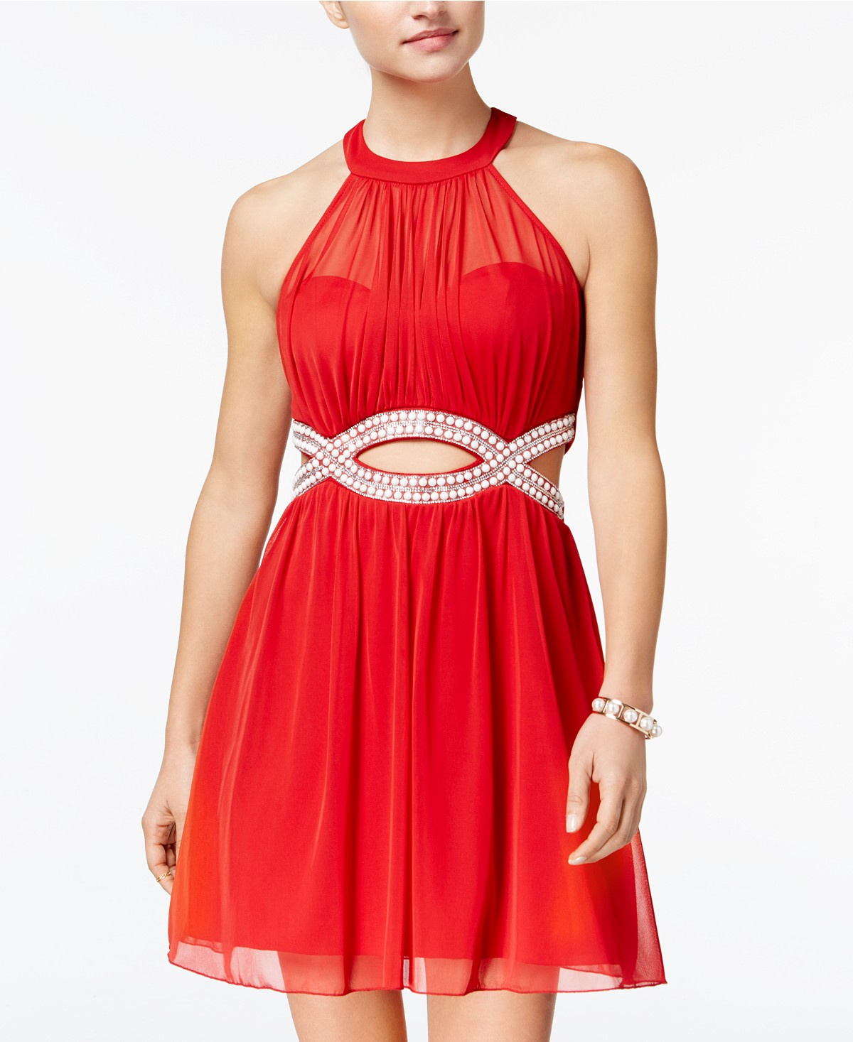 Juniors' Embellished Infinity Halter Dress