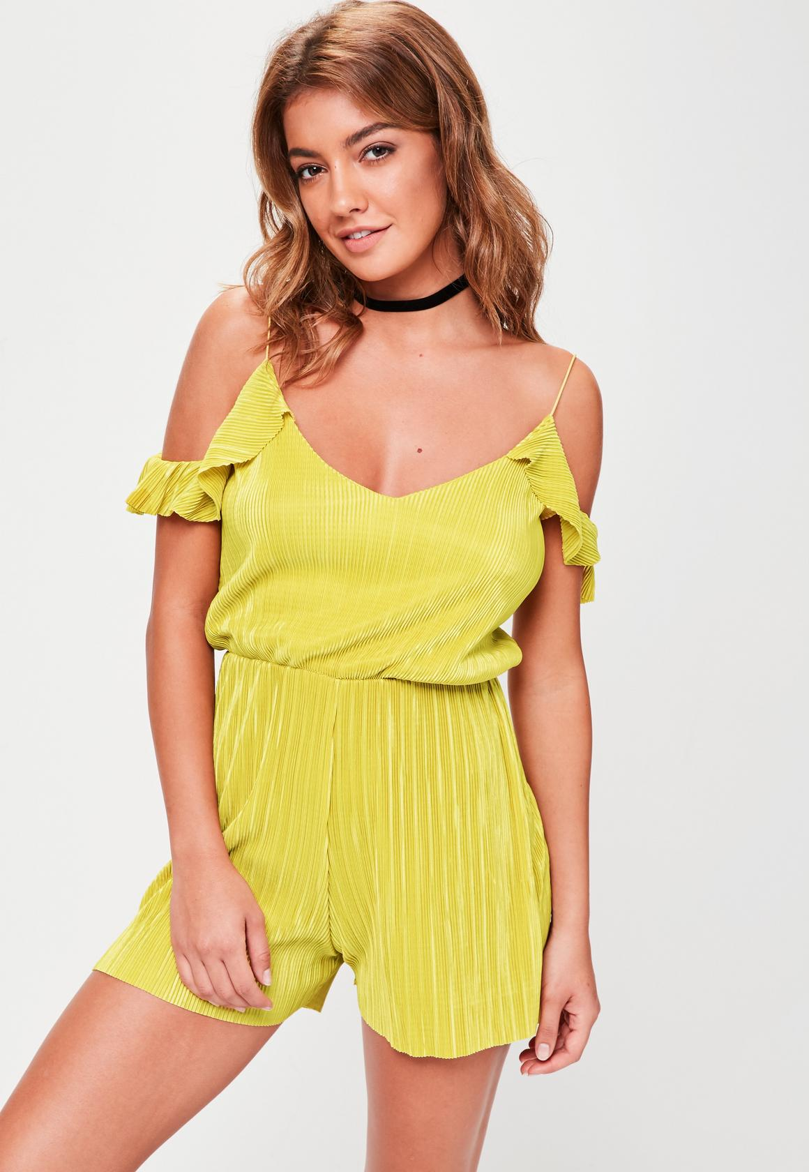 yellow cold shoulder romper