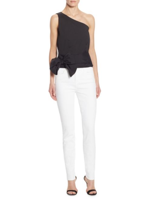 Scripted One-Shoulder Tie-Front Top