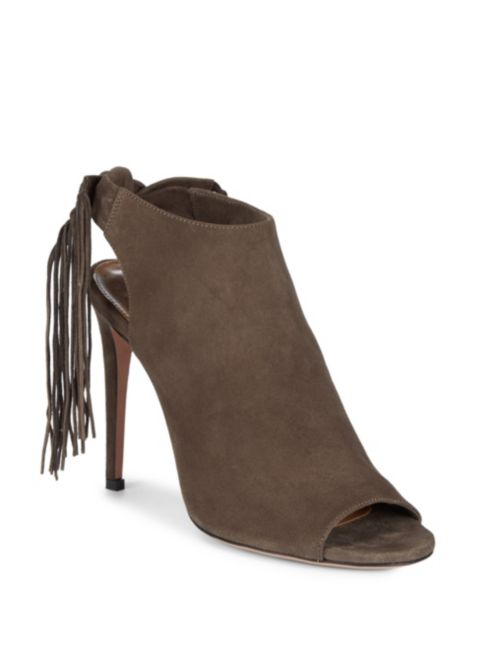 Aquazzura Fringe Tie Leather Stiletto Pumps