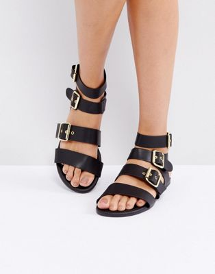 Park Lane Metal Trim Buckle Flat Sandal