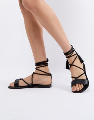 ASOS FIRE FIRE Leather Tie Leg Sandals