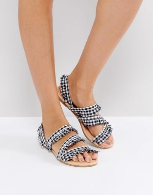 ASOS FAIR PLAY Ruffle Flat Sandals