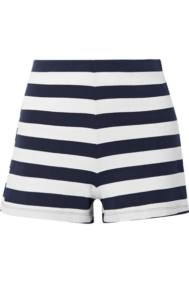 Lucy striped stretch cotton-jersey shorts
