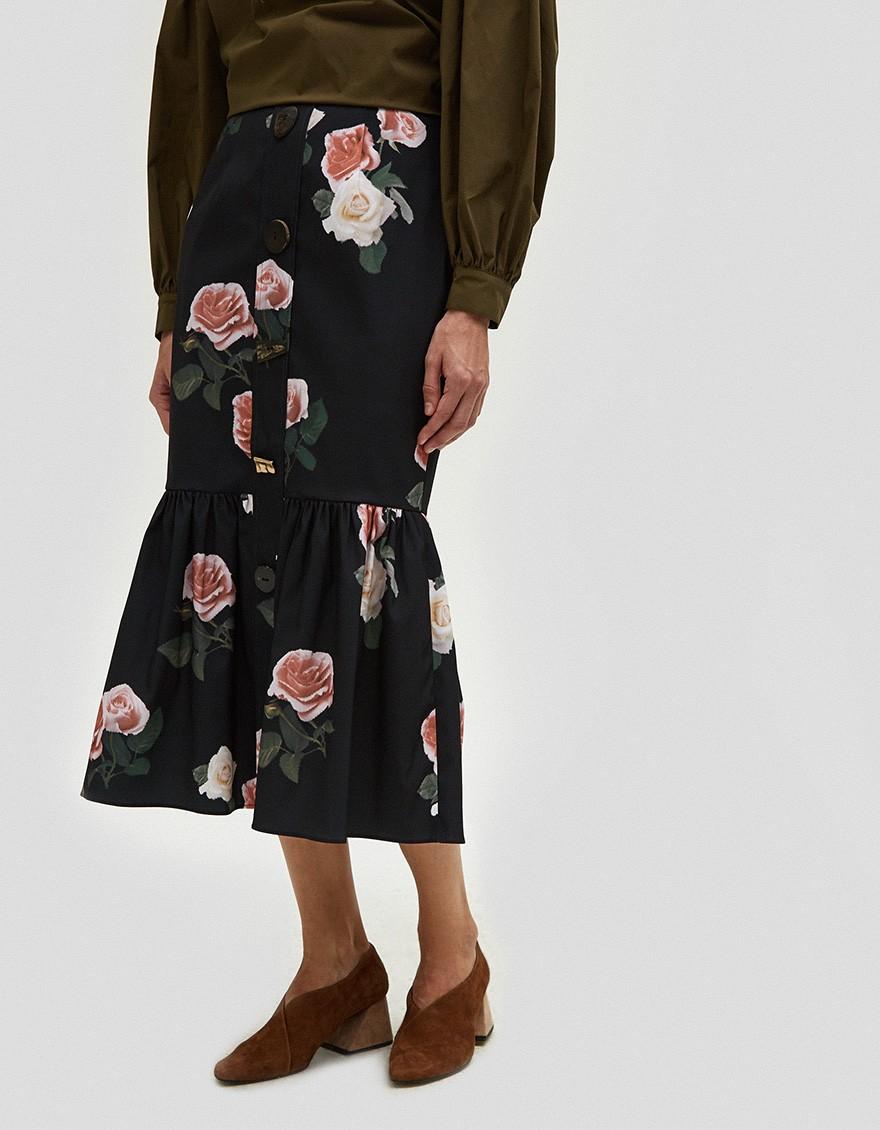 Rejina Pyo Paula Buttoned Ruffle Hem Skirt