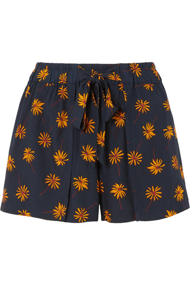 Floral-print voile shorts