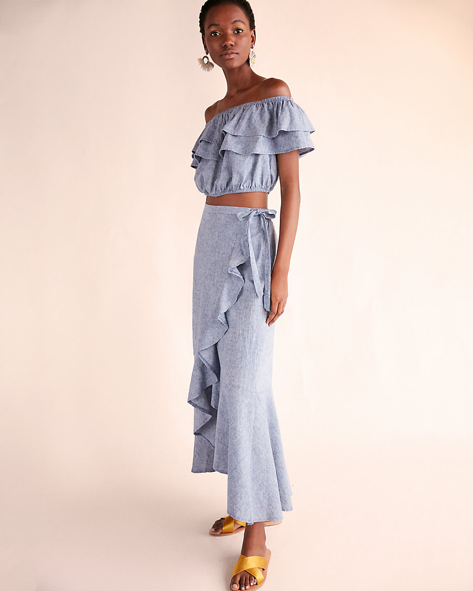 Chambray Ruffle Wrap Maxi Skirt